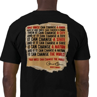 Obama t-shirt - ONE VOICE Speech over cardboard background