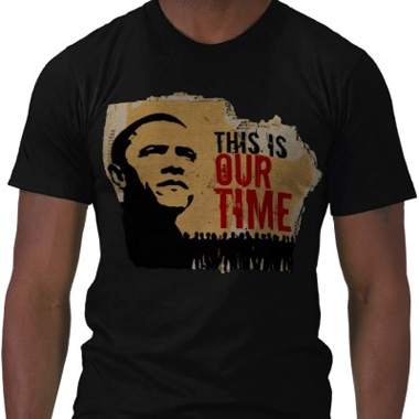Obama Tshirt. This is Our Time Speech. Cardboard Background