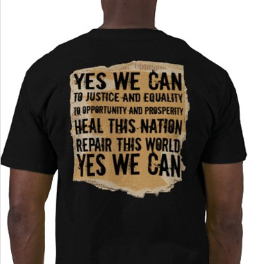 Obama Tshirt. Yes we Can Speech. Cardboard Background